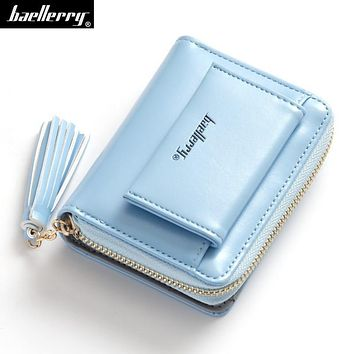Tassels women short wallet oil wax leather Zipper Hasp Lovely flesh Small female purse candy color lady clutch bag for girl