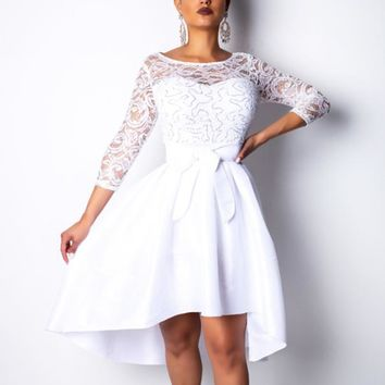 Fashion New Solid Color Lace Long Sleeve Dress Women White