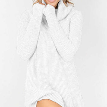 White High Neck Rib Sweater Dress