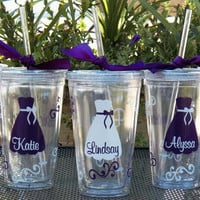 7 Personalized Bride, Bridesmaid, Junior Bridesmaid, Flower Girl and Maid of Honor Acrylic Tumblers, Great Bridesmaid Gifts