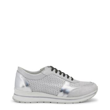 """Women's Silver & Grey Italian Leather """"Ana Lublin MIRIAM"""" Lace Up Athletic Shoes Sneakers"""