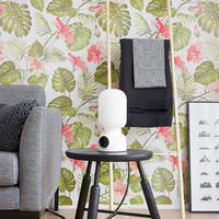 Tropical Pattern Wallpaper - Hibiscus Removable Wallpaper - Palm leaves Wallpaper - Wall Sticker - Tropical Self Adhesive Wallpaper