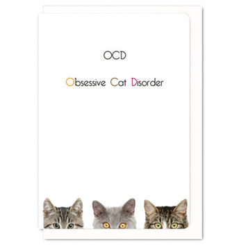 OCD Obsessive Cat Disorder : Greeting card ANL010
