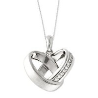Sterling Silver CZ Happy Ever After 18in Wedding Bands Necklace