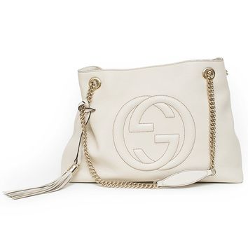 Gucci soho mystic white leather shoulder bag authentic new