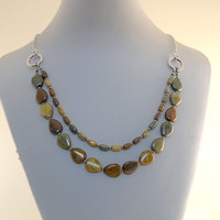 Necklace Czech Glass Two Tiered Multi Colored Picasso Mix