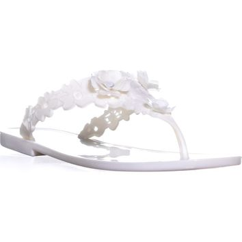 Badgley Mischka Bali Jelly Flip Flops, Ivory, 6 US