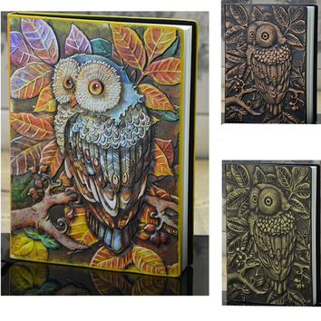 Vintage Owl Pattern Relief Pu Leather Notebook Diary Textbook