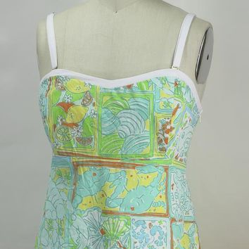 "LILLY PULITZER Strapless ""Seafood"" Bustier Cotton Top  Sz 8"