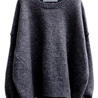 Black Round Neck Split Loose Sweater