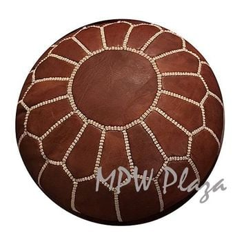 Footstool Pouf Brown Moroccan Leather