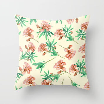Tropical Oleander Throw Pillow by creativeaxle