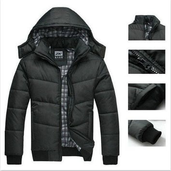 New Hot 2016 Winter Coat Men black puffer jacket warm overcoat parka outwear cotton padded hooded down coat [9145126022]