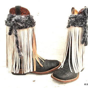 FRINGE, White Leather Fringe, Fringe Boot Covers, Handmade Fringe Boot Covers,  Boho Boot Cuffs, BOHO BOOTS, Cowgirl Boot Covers,