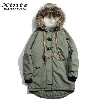 2017 Men Brand Winter Jackets Cotton Padded Coat with Fur Trim Hood Loose Outwear Parkas Horn Button Christmas Gift