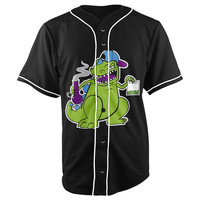 Reptar Pot Head Rugrats Black Button Up Baseball Jersey
