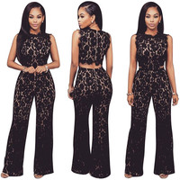 Black Floral Lace Jumpsuits