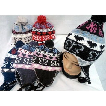 Knit Butterfly Heart Winter Hats with Ear Flaps