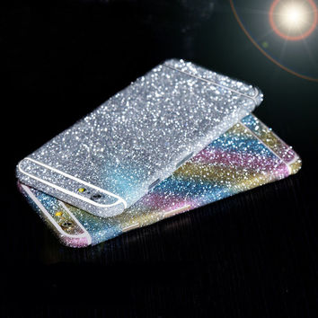 Hot For iphone 4 4S 5 5S 6 6S Bling 360 Degree Full Body Decal Skin Bling Glitter Phone Protective Sticker Wrap Phone Case C033