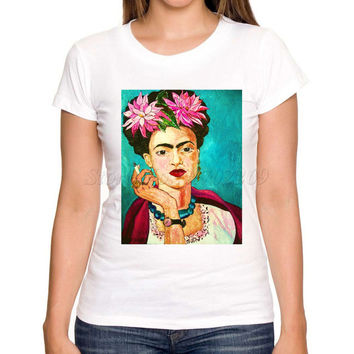 Asian Size women short sleeve casual slim t shirt Frida Kahlo Smoking art printed lady fashion tee shirts novelty funny tops