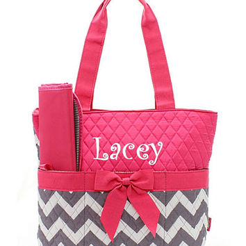 Monogram Diaper Bag/ Personalized/monogramed pink and white and gray chevron Diaper bag