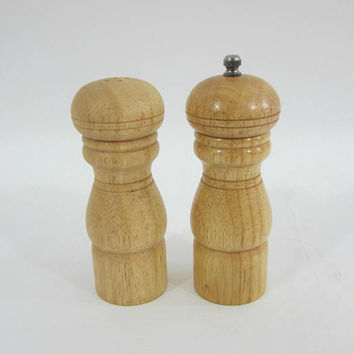 Wood Salt and Pepper Shakers Natural Wood | Penzey's Spices | Pepper Grinder / Mill with Stainless Hardware | Tall Wooden S & P