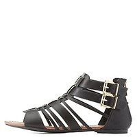 BUCKLED STRAPPY SANDALS
