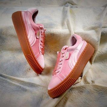 CREYNW6 Puma Suede Classic Basket Shoes With Pink Silk Laces