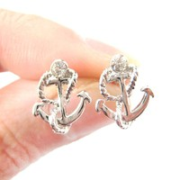 Small Anchor and Rope Shaped Nautical Themed Stud Earrings in Silver | DOTOLY