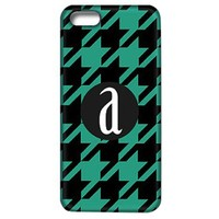 Houndstooth Phone Case with Initial-Black and Green