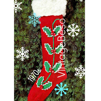 PDF Pattern • 1970s Vintage Knitting Pattern • Christmas STOCKING Pattern • Retro Christmas Knitting + Crochet Pattern • Digital Pattern