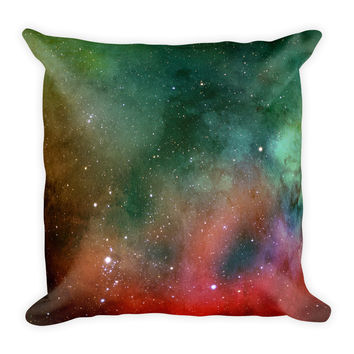 Galaxy Space Green Decorative Throw Pillow 18x18