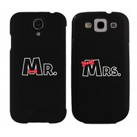 Mr and Mrs Bow Tie Couples Matching Cell Phone Cases for iphone 4, iphone 5, iphone 5C, Galaxy S3, Galaxy S4, Galaxy S5 in Black