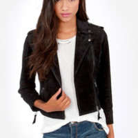 Obey Hitch Hiker Black Suede Leather Motorcycle Jacket