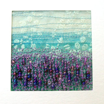 Lavender field - fabric landscape - fabric art card  - beaded card - embroidered card - french knots - 5 inch square card