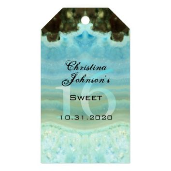 Modern Cool Blue Sweet 16 Party Favors Thank You Pack Of Gift Tags