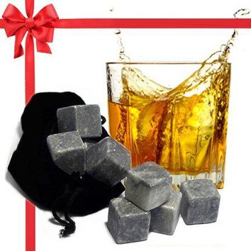 Best Whiskey Stones Gift Set with Magnetic Closure  Unique Present Box  Soapstone Chilling Rocks and Velvet Bag to Cool Bourbon with No Ice  9 Reusable Cubes  Are Your Dad Husband Scotch Lovers