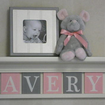 "Personalized Children Nursery Decor 24"" Linen White Shelf with 5 Letter Wooden Plaques Painted Pink and Gray - AVERY"