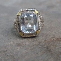 Art Deco Aquamarine Filigree Ring 10k white gold March birthstone ladies vintage