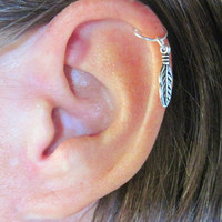 "Ear Cartilage Helix Cuff ""One Feather"" 1 Cuff Color Choices No Piercing"