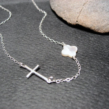 "Side Cross Necklace, Sideways Cross Necklace,  925 Sterling Silver , White MOP Clover, Christian Cross , Pearl Clover, ""Patmos4"" Necklace"