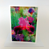Blank Art Greeting Card Frameable Art Abstract Flowers Purple iris Green Folded 5x7 inches