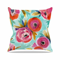 "Crystal Walen ""Celestial Rain Flower"" Teal Red Outdoor Throw Pillow"