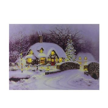 "Fiber Optic and LED Lighted Snowy Christmas House Canvas Wall Art 12"" x 15.75"""