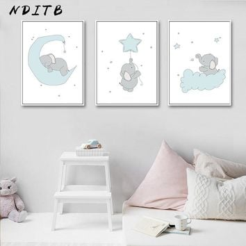 NDITB Cute Cartoon Elephant Moon Canvas Art Painting Posters Prints Decorative Picture Baby Bedroom Nursery Wall Decoration