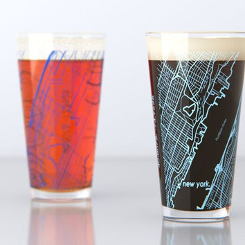 New York, NY - Columbia University - College Town Map Pint Glass Set