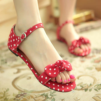 Polka Dot Bow Ankle Strap Flat Sandals 2755