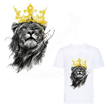 Hot Ink style Lion King patch 25*17.5cm iron on patches for clothes DIY T-shirt jacket hoodie Grade-A Thermal transfer stickers