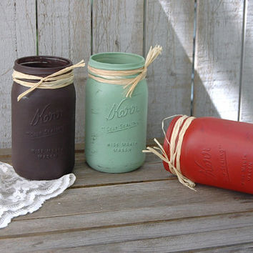 Painted Mason Jars, Shabby Chic, Chocolate, Sage, Persimmon, Hand Painted, Distressed, Rustic, Fall Decor