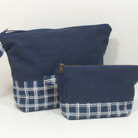 Navy Toiletry Bag, Blue Cosmetic Bags, Makeup Storage
